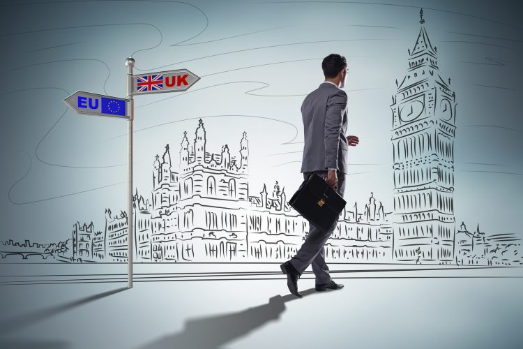Businessman in Brexit concept - UK leaving EU